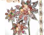Treasury List Item -  Set of three beaded PEACH flowers on metal flower garden stake