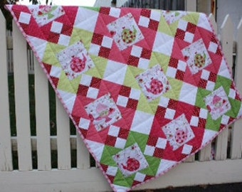 Quilt Pattern - Strawberries and Tea Cot Quilt - PDF Version