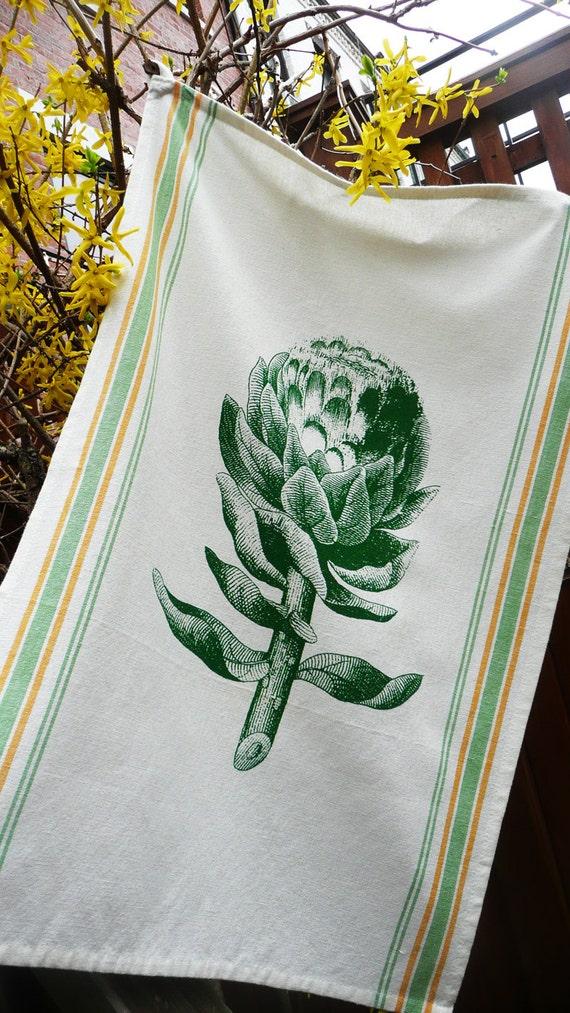 Artichoke Tea Towel pure cotton with vintage Spring colors