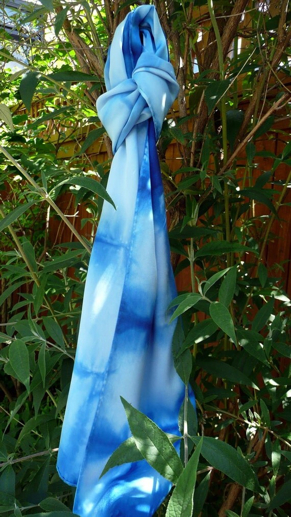Cyber Monday half price off TODAY only -Blue Silk Scarf, hand-dyed gorgeous charmeuse