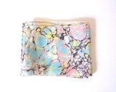 Vintage Silk Scarf 1960s Pink and Aqua Design