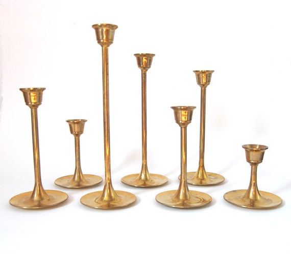 Mid Century Collection of 7 Tulip Base Brass Candle Holders
