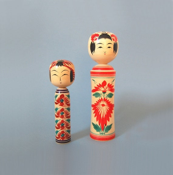 Two Vintage Traditional Kokeshi Dolls - Signed