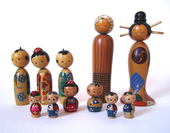 Instant Japanese Nodder Kokeshi Doll Collection