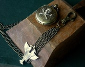 Men's Pocket Watch with Silver Skull and Egyptian Double Falcon