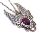 Amethyst and Silver Wings Gothic  Necklace - Men Women Fantasy Gothic Jewelry -  Angel Wings Necklace