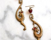 Golden Chimera - Mythical Gothic Earrings - Aged Brass, Ruby Swarovski Crystals - Fantasy  Gothic Jewelry