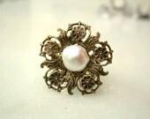 Fresh Water Pearl - Victorian Pearl Ring - Victorian Bridal Wedding Jewelry