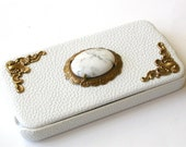 White  Leather Flip Case for iPhone 4 and 4s - White Natural Howlite Gemstone iPhone Cover - iPhone Accessories