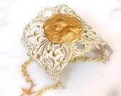 Bridal  Victorian Lace Cuff - Ivory Patina on Brass - Wedding Victorian Jewelry