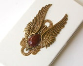 Gothic  iPhone 4 and 4s Flip Case - Brass Angel Wings on White Leather Case