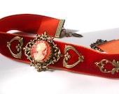 Victorian Velvet Choker - Carnelian Cameo - Victorian Gothic Jewelry