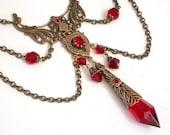 Blood Queen  - Victorian Gothic Brass Necklace - Swarovski Crystals - Victorian Gothic Jewelry