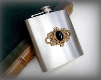 Black Onyx and Brass on Stainless Steel Hip Flask - 6 oz