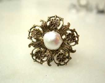 Fresh Water Pearl - Victorian Pearl Ring - Victorian Bridal Wedding Jewelry