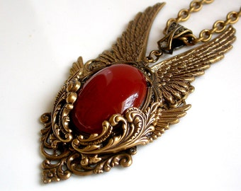 Gold Angel Wings Necklace  Gothic Pendant Carnelian Agate Gemstone Gothic Jewelry Game of Thrones Necklace