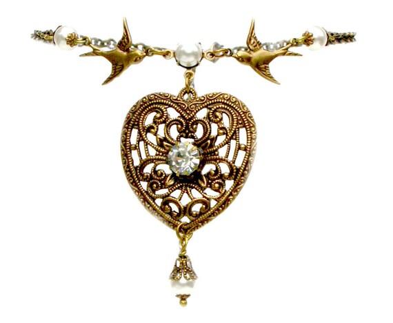 Heart Pendant  Necklace Victorian Jewelry Swarovski Crystal Pearls