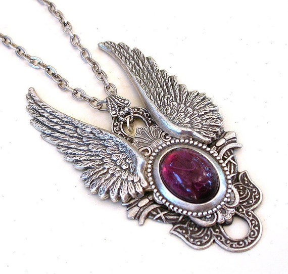 Amethyst and Silver Wings Gothic Necklace Men Women Fantasy