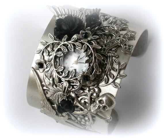 Silver Steampunk Cuff Watch Wide Bracelet Watch  Victorian Gothic Women Watches  Unique Wrist Watch Gothic Watch Gothic Jewelry