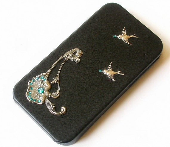 Black Leatherette iPhone 4 and 4s Flip Case - Women Art Nouveau iPhone Case - iPhone Accessories