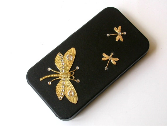 Golden Dragonflies iPhone 4 and 4s Flip Case - Black Leatherette and Swarovski Rhinestones iPhone cover - iPhone Accessories