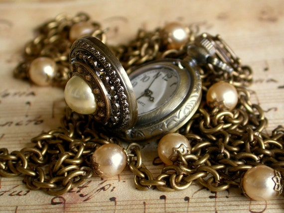 Small Victorian Pocket Watch Pendant Necklace - Vintage Champagne Glass Pearls - Vintage Style Victorian Locket Jewelry