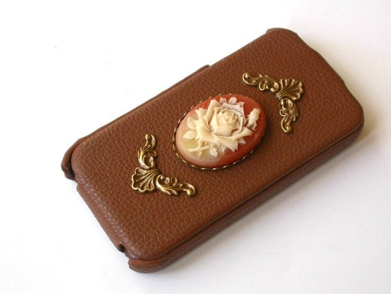 Brown Leather Flip Case for iPhone 4 and 4s - Carnelian Victorian Rose Cameo