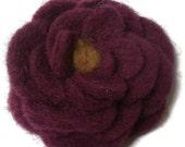 Felt and needle felt flower plum purple