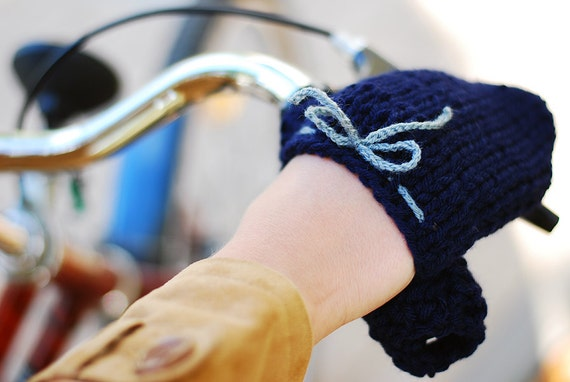 Bike Hand Warmers Gloves Wool Crochet Autumn Fall Winter Spring Cold Days Unisex Woman Man Teens Gift Cozy Navy Blue Grey