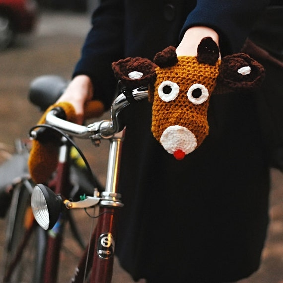 Bike Reindeer Handwarmers Perfect Christmas gift for bike rider cyclist Gloves Wool Crochet Unisex Cozy