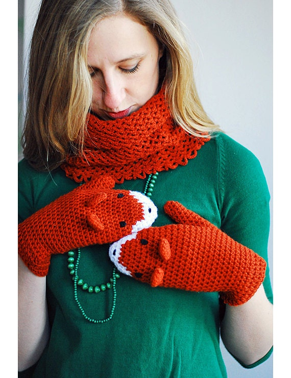 FOX MITTENS and COWL - Ready to ship - Gift Wool Crochet Winter Woman Girl Teens Cozy Ginger Red Forest Animals Woodland