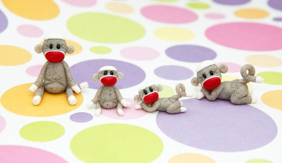 Set of 4 Miniature Sock Monkeys, Polymer Clay by Creative Contours
