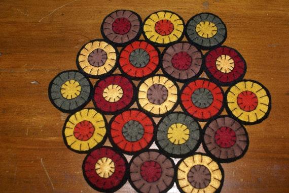 primitive folk art wool penny circle penny  rug candle mat