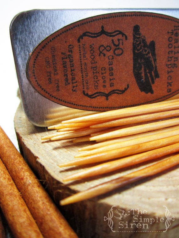 Organic Flavored toothpicks - Cassia & Clove Chew Sticks - Natural Mouthcare 100 count