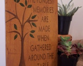 """Hand Painted Vintage Gold Kitchen Mini Sign - Our Fondest Memory  - 6"""" x 9"""""""