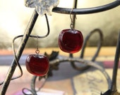 Cherry, red glass, dangle earrings, gifts to her, fused glass, red earrings, valentines