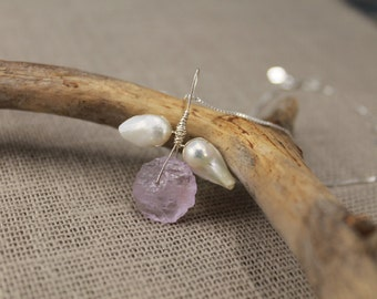 Flower pendant, sterling silver, white pearls, raw amethyst pendant, lavender, gifts to her