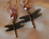 Mauve pearl & pink accent beaded dragonfly earrings