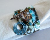 Fabric Wrap Bracelet with Funky Dangles - Triple - Brown, Turquoise, Tan, White and Green - Small or Medium
