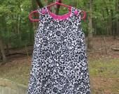 monogrammed a-line girls dress- reversible, black, white, pink