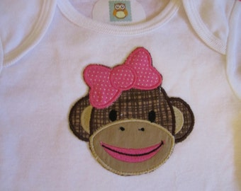 girl sock monkey bodysuit/ shirt