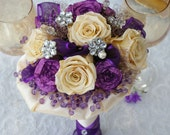 Unique Brooch Bridal Bouquet Purple & Champagne with Amethyst ribbon flowers