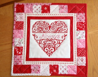 QULTED TABLE RUNNERS Set of two [2] for Valentine's Day, Sweetest Day, Anniversaries, Weddings, Showers, etc.