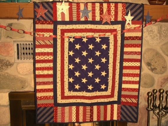 QUILTED AMERICANA DECOR, Rally around the Flag on July 4th, Veteran's Day, Flag Day, Memorial Day