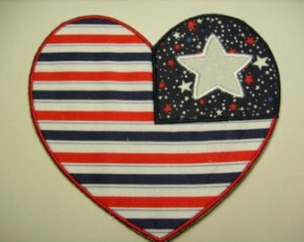Red, white and Blue heart iron on or sew on machine embroidered applique