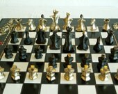 Mosaic Chess Board with a Set of Bronze Figures