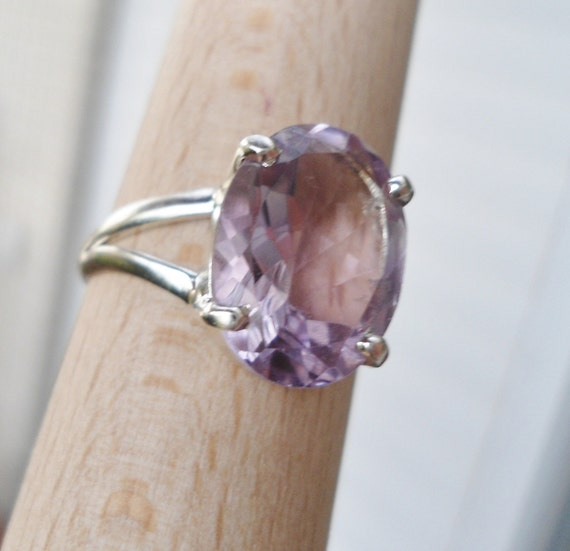 Sterling Silver Amethyst Ring - Handmade jewelry - Size 8 1/2
