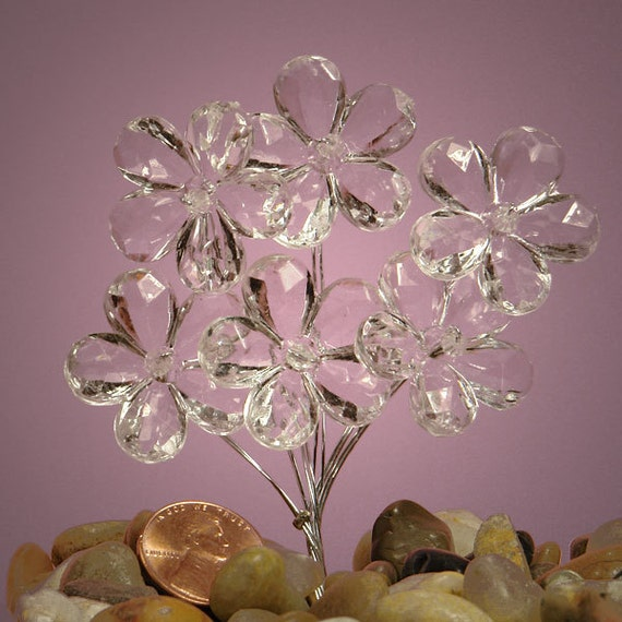 """6 Small Clear Faceted Crystal Flowers with Stem and Clear Bead Center 7/8 """""""