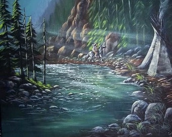 Blackfoot River, original painting, free shipping