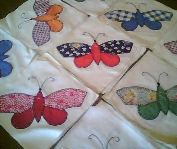 Vintage 56 piece Butterfly Quilt Blocks, hand stitched FREE SHIPPING
